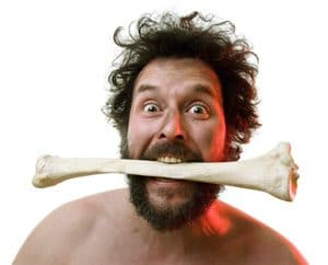 Caveman with Bone in Mouth
